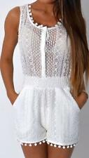 New Ladies Lace Summer Pom Pom Beach Playsuit Short Suit Womens 6-14 Cream