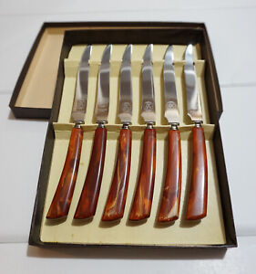 Retro Tongs Stainless Steel with Dark Red Marbled Handles 1960s Glo-Hill SaladIce Tongs