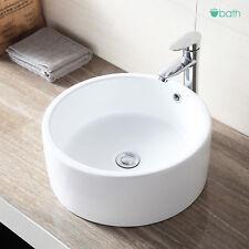 Round Ceramic Vessel White Bathroom Sink Bowl Porcelain Basin with Pop Up Drain