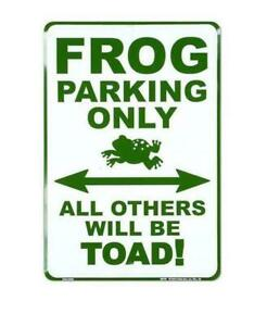 Metal Plate Sign Vintage Frog Parking Toad Gate Home Wall Decor Tin Warn Art FUn