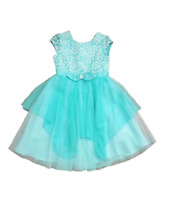 NEW Jona Michelle Girls Lace Dress w/ Pearl Beaded Bow - Aqua Ice -Various Sizes