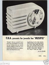 1951 PAPER AD FBA Musipix Music Box Radio Look Schoenhut Toy Piano Hurdy Hurdy