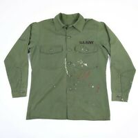 Faded Paint Distressed Vtg Military Fatigue Shirt Mens MEDIUM Green Grunge Punk
