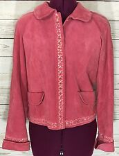 Margaret Godfrey Pink Sequined Genuine Leather Jacket Size S Needs Cleaning