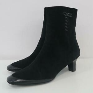 Salvatore Ferragamo Ankle Booties 11B Black Suede Leather Bow Detail Zipper