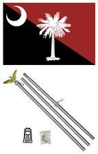 3x5 State of South Carolina Garnet Red / Black Flag Aluminum Pole Kit Set 3'x5'