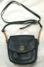 TOMMY HILFIGER Womens Small Navy Blue Pebbled Leather Purse-Shoulder Strap-EUC