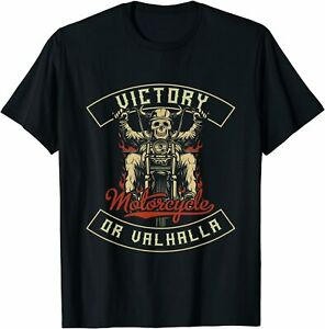 Victory Or Valhalla Motorcycle Norse Viking - T Shirt S-5XL