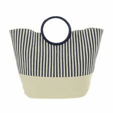 Blue Cream Stripe Paper Straw Beach Bag Round Handles Holiday Pool Shopper Tote