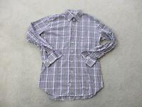 Peter Millar Button Up Shirt Adult Medium Purple White Plaid Long Sleeve Mens