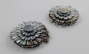 Black Shell Box Clasps,Multi-strand,Brass Findings, Platinum, chrysanthemum 42mm