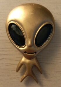 Gold Bug Eyed Alien UFO Fridge Magnet - Brand New