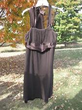 Mimi Maternity dress brown halter top size L large empire waist silk