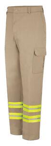 Red Kap Reflective Cargo Pocket Safety Hi Vis Work Pants Industrial Uniform