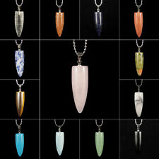 hand carved bullet shape natural gemstone loose beads stone pendant necklace