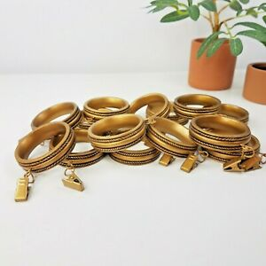 """Carved Wood Look Clip Curtain Rings- Set of 14- Bronze or Antique Gold 1 7/8"""""""