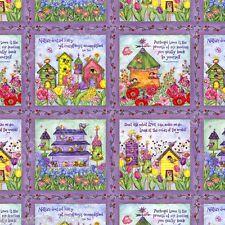 Patchworkstoff Birdhouse Garden Baumwollstoffe Patchwork Stoffe Vögel Meterware