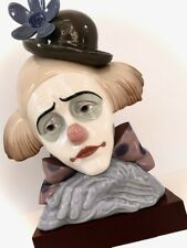 """Lladro """"Clown's Head Bowler-Hat"""" Porcelain Figurine with Stand"""