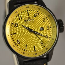 New Mens Invicta 19616 S1 Rally Summer Yellow Textured Dial Black Leather Watch