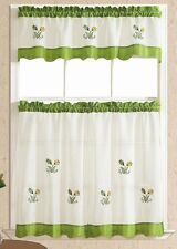 Ready in US. BRIGHTER & SOFTER. 3pcs kitchen curtain / cafe curtain set. GREEN