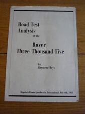 ROVER P6 3500 ROAD TEST REPRINT CAR BROCHURE 1968  jm
