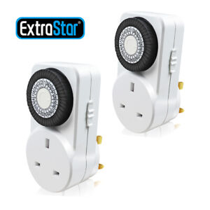 24 Hour Mains Plug In Timer Switch Time Clock Socket UK 3 Pin Adapter 2 PACK