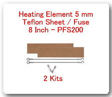 "2 Replacement Heating Element 5 mm +2 PTFI Sheet For Impulse Sealer 8"" PFS200"