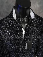 NWT Mens COOGI LUXE Button Dress Shirt Black Velvet Flocked Stripes & White Trim