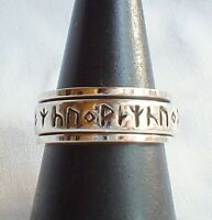 Silver Rune Worry Ring 925 Sterling Spinner Spinning Runes Norse Viking Reiki