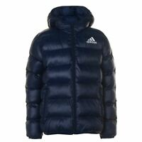 adidas Kids Boys Padded Jacket Junior Puffer Coat Top Lightweight Hooded Water