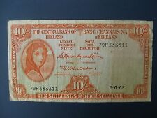 1968 CENTRAL BANK OF IRELAND (IRISH) 10/- BANKNOTE F