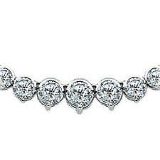 7.21 ct Round Diamond Graduated Tennis Necklace 14K White Gold bezel prong set