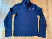 Vintage Abercrombie & Fitch Navy Blue Cotton Henley Sweatshirt Size Medium M