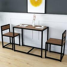 Dining Table & 2 Chairs Set Small Kitchen Breakfast Bar Black Steel Flat Packed