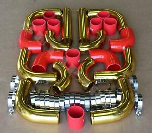 """Universal 3.0"""" 12pc 24-K Gold Front Mount Intercooler Piping Kit + Red Couplers"""
