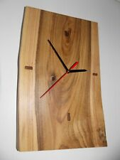 Wall wood clock NUT Natural solid  handmade, Wooden home art decor gift