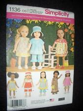 "Simplicity 1136 Pattern 18"" Doll Fits American Girl Ruffled Dresses Pants Heigl"