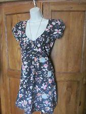 nikke pretty black floral cotton stretch gypsey dress size 10
