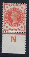 GB VICTORIA :1887 1/2d vermillion control N-PERF margins SG 197 mint-damaged N