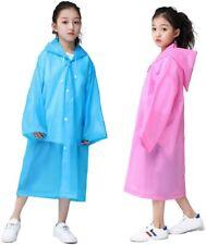Kids Rain Ponchos (2 Pack ), Reusable EVA Rain Coats for 6-12 Children