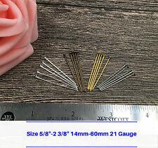 "Flat Head Pin Headpin Craft Jewelry Making Finding 5/8"" 2 3/8"" 21 Gauge Bulk Lot"