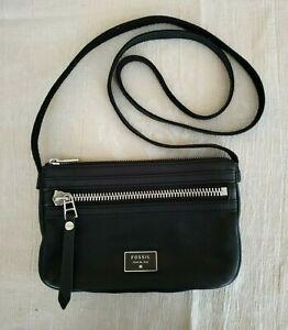 Fossil Black Leather Crossbody Handbag Purse