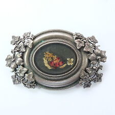 Beautiful Vintage Pierre Bex Silver Plated Ivy Leaf/ Dried Flower Brooch SIGNED