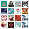 FJ- CN_ Christmas Santa Elk Snowman Throw Pillow Case Cushion Cover Car Decor La
