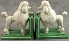 PAIR OF WHITE POODLE Cast Iron HEAVY BOOKENDS Book Ends