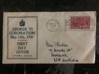 1937 Ottawa Canada King George VI Coronation FDC First Day Cover To Australia
