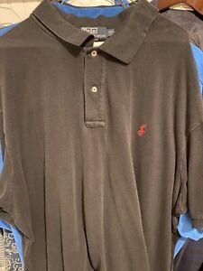 Polo Ralph Lauren Mens 4xb Cotton Black Solid Short Sleeve Collared Shirt