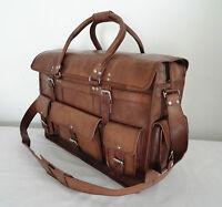 """LARGE 22""""x16x9 Real Leather Duffle Travel Bag Handbag Luggage Bag Hold-all Bag"""