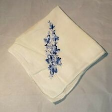 Vintage Ladies White Handkerchief Hanky Blue Embroidered Flowers 11 x 11""
