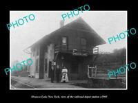 OLD LARGE HISTORIC PHOTO OF OWASCO LAKE NEW YORK, THE RAILROAD STATION c1905